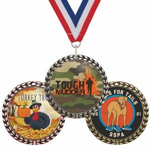 Medal w/ Wreath Border - Full Color Imprint - 6 Day Production